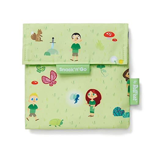 Roll'eat - Snack'n'Go Kids | Bolsa Merienda Infantil Porta Sandwich Reutilizable y Ecológico sin BPA, Forest