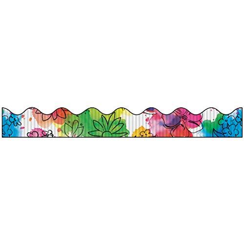 Bordette Scalloped Watercolor Flowers Decorative Border, 2-1/4 Inches x 25 Feet