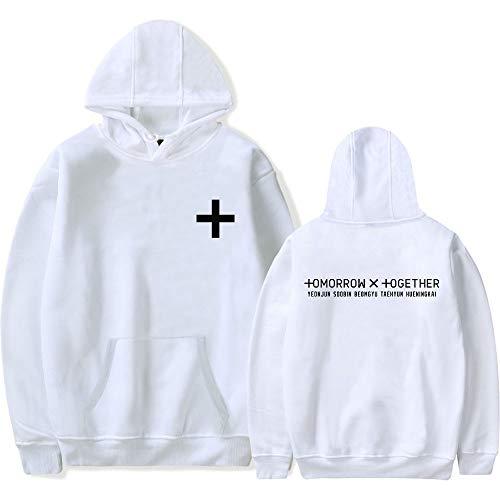 INSTO Sweatshirt Hip Hop Txt Fans Gedruckt Sweatshirt Männer Frau Mit Kapuze Zur Seite Fahren Mehrere Größe Optionen/Weiß/XS