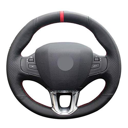 ZHHRHC Auto-Lenkradbezug, handgenäht, Leder, für Peugeot 208, Peugeot 2008 rot