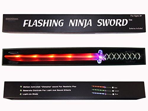 """GlitZGlam Ninja Lichtschwert Spielzeug (LED) Deluxe aktiviert klirrende Ger""""usche durch Bewegungen - Rot"""