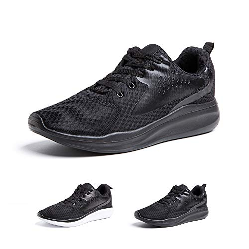 Zapatillas Running Hombre Zapatos Deportivos con Cordones Casuales Sneakers Sport Fitness Gym Outdoor Transpirable Comodas Calzado Negro Talla 43