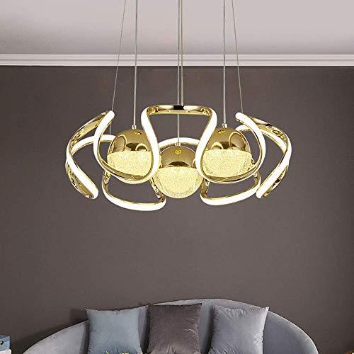 3000K Candelabros Luces Colgantes LED Orbe Ovalado Colgante de Vidrio Pantalla de luz Luces de Techo Doradas Ajustables en Altura 6500K Dormitorio/Bar/Comedor Araña