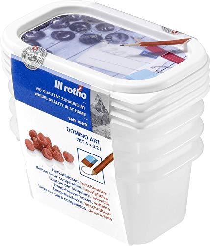 Rotho Domino 4er-Set Gefrierdosen 0.2l mit beschreibbarem Motiv auf dem Deckel, Kunststoff (PP) BPA-frei, weiss, 4 x 0,2l (11,7 x 7,5 x 5,3 cm)