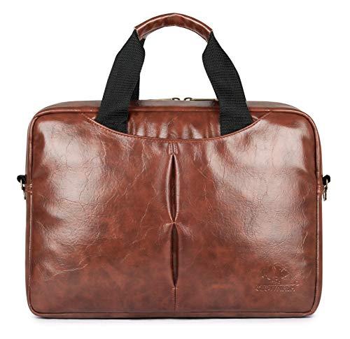 Vegan Leather Laptop Briefcase for Men and Women Computer Case Laptop Briefcases Business Laptop Shoulder Bags Waterproof Satchel Travel Messenger Bag Large Tote 15.6 Inch Brown