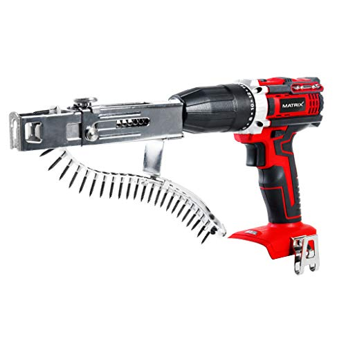 Matrix 120310190 Magazinschrauber, Trockenbauschrauber, 2 in 1 mit Aufsatz und Magazin, auch als Akkuschrauber verwendbar