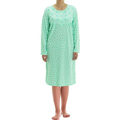 Zeitlos Damen Nachthemd Blumen Druck (L, Mint)