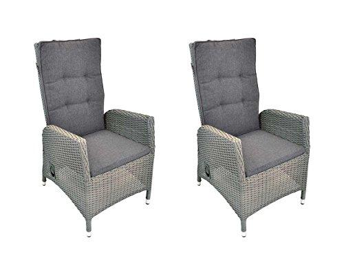 lifestyle4living Gartensessel verstellbar aus Rattan in grau, Wetterfester Sessel inklusive Sitzkissen bringt hohen Sitzkomfort an den Gartentisch