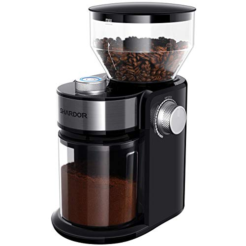 SHARDOR Electric Burr Coffee Grinder 2.0, Adjustable Burr Mill with 16 Precise Grind Setting for 2-14 Cup, Black (Renewed)