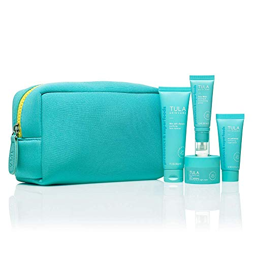 TULA Skin Care On the Go Best Sellers Travel Kit | Facial Cleanser, Day & Night Moisturizer, Sugar Scrub & Face Filter Primer for Glowing, Radiant Skin