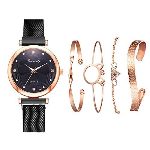 qwert Reloj de Cuarzo para Mujer Reloj analógico para Mujer con Correa de cerámica Reloj de Moda para Mujer Reloj de Pulsera para Mujer,Negro