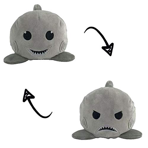 Double-Sided Plush Doll, Soft and Reversible Cute Shark, Angry and Happy, Children's Birthday Gift Doll Toy