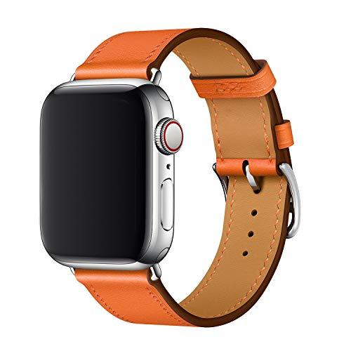 XCool für iWatch Armband 42mm 44mm, Leder Orange Armbänder für iwatch Series 5, Series 4 Series 3 Series 2 Series 1