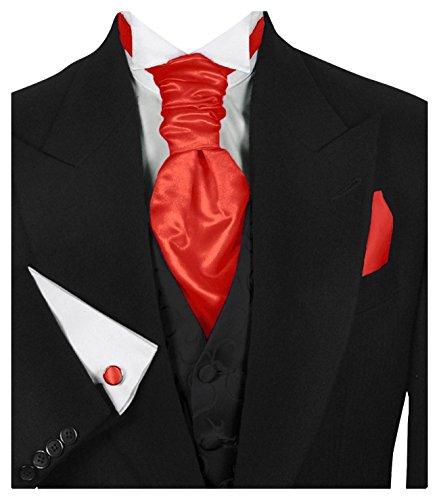 GASSANI (3er-Set Plastron Krawatten-Schal Breit, Hell-Rote Hochzeitskrawatte Gebunden Einstecktuch Manschettenknöpfe, Z. Hochzeitsanzug Weste Frack