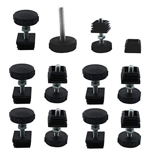 Pies niveladores Kit de inserciones de tubo cuadrado de 30 x 30 mm, nivelador ajustable de deslizamiento de muebles con tuercas para mesa, patas de sofá, 10 juegos