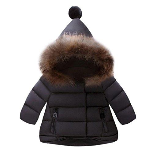 HUHU833 Baby-Kapuzen Mantel,Baby Mädchen Jungen Kinder, Daunenjacke Mantel Herbst Winter Trenchcoat Outerwear mit Kapuzen Warme Kleidung (1-5Jahre) (90-90M, Schwarz)