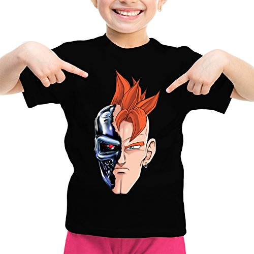 Okiwoki T-Shirt Enfant Fille Noir Dragon Ball Z - Terminator parodique C16 X Terminator : T-16 (Parodie Dragon Ball Z - Terminator)