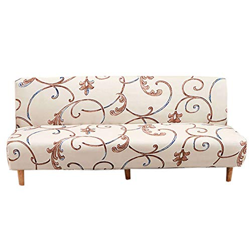 Armless Futon Cover,Stretch Without Armrests Slipcover with Elastic Bottom Foldable Full Size Sofa Bed Slipcover Protector Washable Printing Fabric Futon Slipcover for Living Room-L(190-210cm)-J