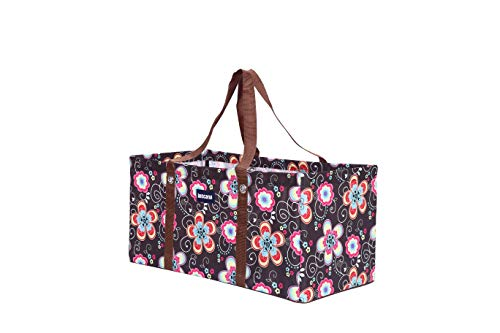 Buscarna All Purpose Open Top 22' and 23' Classic Extra Large Utility Tote Bag (Brown Daisy (R-002-161), 22')