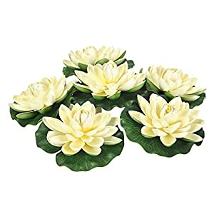Sunm Boutique Artificial Floating Foam Lotus Flowers, Artificial Water Lily Pads, Lotus Lilies Pad Ornaments for Patio Koi Pond Pool Aquarium Home Garden Wedding Party Garden Decor, 6Pcs, Ivory
