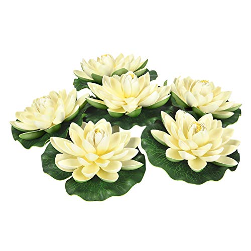 Maustic 6 Stücke Schwimmende Blumen Künstliche Seerosen Gefälschte Lotus Lilien seerosen pflanzen künstlich Künstliche Seerosenblätter für Teich Pool Aquarium Hausgarten Indoor Outdoor Decor Elfenbein