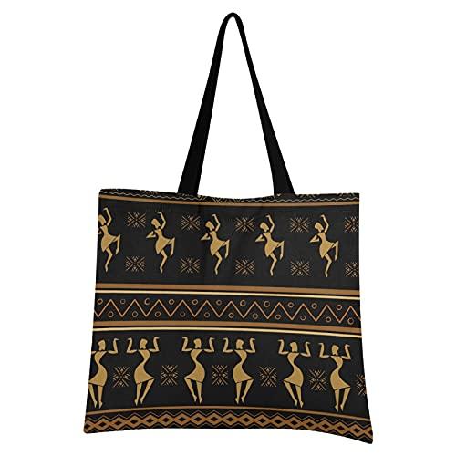 Mnsruu Kunst Ethnische Afrikanische Schwarze Frauen Einkaufstasche Faltbar Groß Wiederverwendbare Einkausbeutel Einkaufstaschen mit Beutel Einkaufstüte für Gemüse Obst