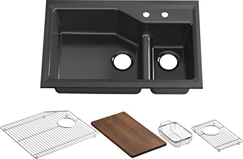 Kohler K-6411-2-FP Indio Undercounter Double Offset Basin Kitchen Sink with Two-Hole Faucet Drilling, Caviar