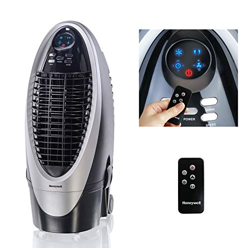 Honeywell 300-412CFM Portable Evaporative Cooler, Fan & Humidifier with Ice Compartment, Carbon Dust Filter & Remote, CS10XE, Silver/Black