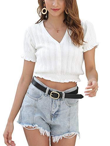 MessBebe Crop Top Mujer Camisetas Manga Corta Verano Cuello