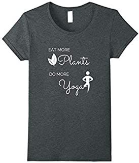 Womens Eat More Plants Do More yoga T-Shirt by Higher Living Yoga Small Dark Heather [並行輸入品]