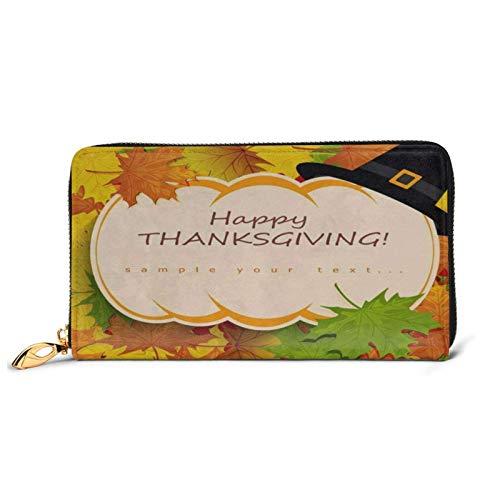 Acción de Gracias Acción de Gracias Cita de otoño Calabaza Cartera de Cuero Embrague Grandes Bolsos de Viaje Largos para Mujeres niñas