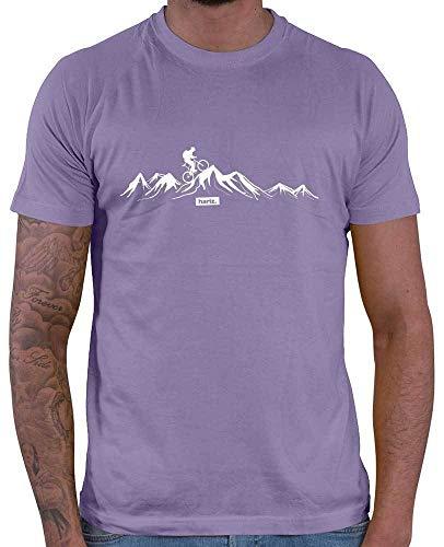 HARIZ Herren T-Shirt Mountainbike Fahrrad Berge Mountain Plus Geschenkkarten Lila XL