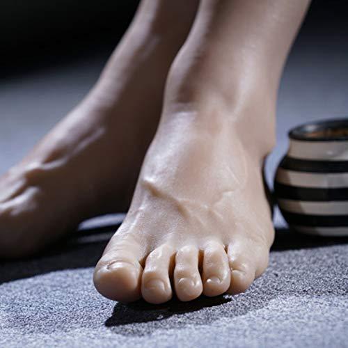 1 para Lebensgroße Männliche Silikon Schaufensterpuppe Fuß Schuhe Socken Display Fotografie Halloween Requisiten Maniküre Praxis Füße Modell 44 Größe,Natural,apair