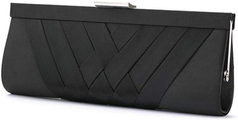 ZYLE Weaving Ladies' Evening Bag, Clutch Bag, Chain Bag Evening Bags (Color : Black)