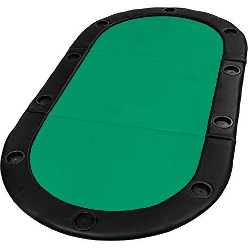 """Maxstore Faltbare Pokerauflage """"Straight Flush"""" mit Tasche, 208x106x3 cm, MDF Platte, gepolsterte Armauflage, 10 Getränkehalter, grün"""