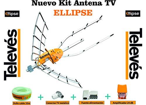 Kit Creado por TECNOVOZ de la Marca Antena TELEVES HD 148922 (Corte 700 MHz ch 21-48) con Amplificador 561621+ Fuente de Alimentacion para el Previo +20MT Cable +Conectores de Antena Tipo F Y CEI …