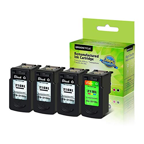 GREENCYCLE Re-Manufactured PG210 210XL PG210XL CL-211XL 211XL Ink Cartridge Compatible for Canon PIXMA iP2700 iP2702 MP230 MP240 MP250 MX320 MX330 Printers (Black, 3 Pack; Tri-Color, 1 Pack)