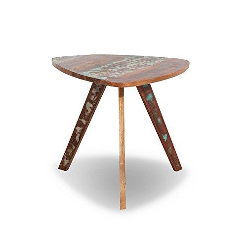 MÖBEL IDEAL Beistelltisch Malm Tisch aus recyceltem Massivholz Couchtisch 60 x 65 cm Bunt Used Look
