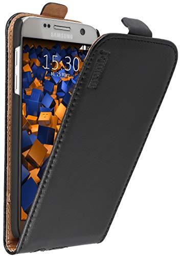 mumbi Echt Leder Flip Hülle kompatibel mit Samsung Galaxy S7 Hülle Leder Tasche Hülle Wallet, schwarz