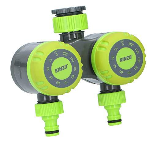 Bewässerungsuhr mechanisch 2-Fach Bewässerungstimer, Garten Wasserhahn Wassertimer, automatische Abschaltfunktion, Bewässerungsdauer 15, 30, 45, 60, 90, 105 oder 120 Minuten