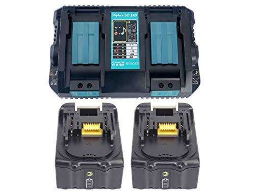 2x 18V 5Ah BL1850 Batterie & DC18RD Chargeur Rapide Double pour Makita BL1830 BL1840, Radio DMR100, DMR101, DMR102, DMR103B, DMR104, DMR105, DMR108