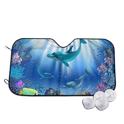 Rterss de onderwaterwereld met dolfijnen en planten gepersonaliseerd voorruit zon schaduw vizier voorruit glas voorkomen de auto van verwarming tot binnen