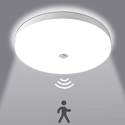 Plafonnier LED Rond 30W 3000LM 6500K Lampes de Plafond avec détecteur de mouvement Ultra-mince LED Lampe Imperméable IP56 Luminaire Intérieur pour Chambre Cuisine Balcon Couloir blanc froid Ø25cm