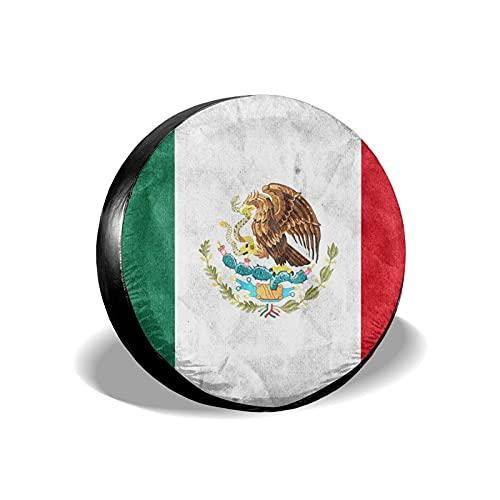Tcerlcir Cubierta Universal de Ruedas de Repuesto Funda Protectora Bandera de Mexico Impermeable para Remolques, Casas Rodantes, SUV y Otros 14'/15'/16'/17'