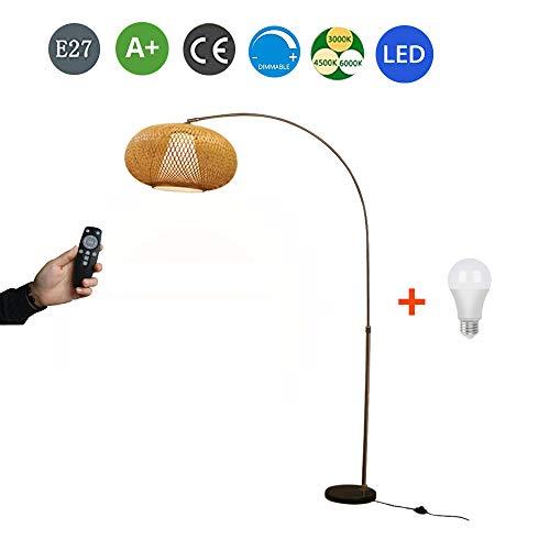 Bambus Rattan Stehlampe E27, 90-175cm Höhenverstellbar Bogenlampe, Standllampe Dimmbar mit Fernbedienung, Marmorsockel Standleuchte, für Wohnzimmer Schlafzimmer Arbeitszimmer (Inkl. LED Birne),C