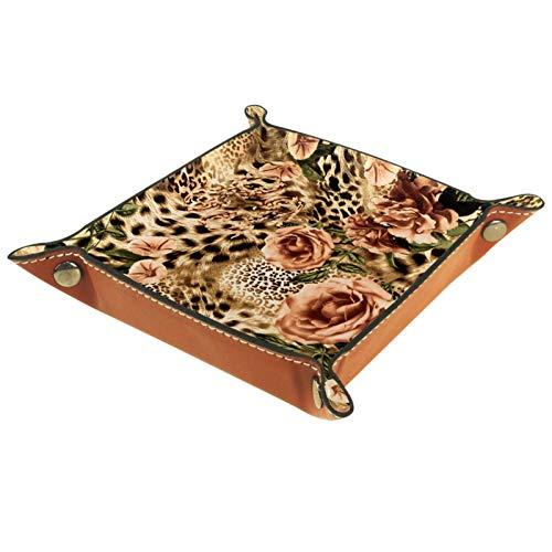 Bandeja de Cuero - Organizador - Leopardo y flores a rayas - Práctica Caja de Almacenamiento para Carteras,Relojes,llaves,Monedas,Teléfonos Celulares y Equipos de Oficina