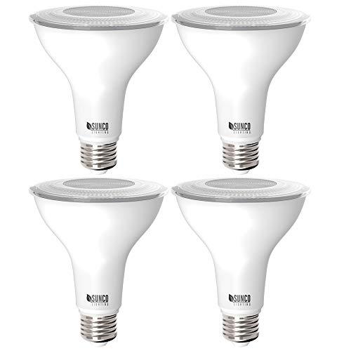 Sunco Lighting 4 Pack PAR30 LED Bulb, Dusk-to-Dawn Photocell Sensor, 11W=75W, 5000K Daylight, 850 LM, Auto On/Off Security Flood Light - UL