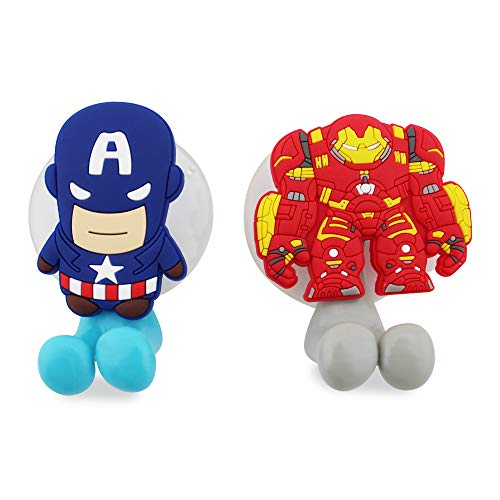 marvel toothbrush holders Finex 2 pcs Set Avengers Captain America & Ironman Toothbrush Holders with Suction Cup for Wall in Bathroom at Home