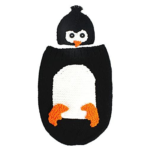 Yolispa Accesorios de Fotografía de Bebé Recién Nacido Sesión de Fotos Infantil Disfraz de Pingüino Crochet Saco de Dormir Sombrero 0- 6 Meses
