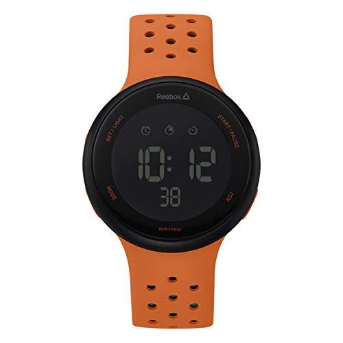 REEBOK Elements - Orologio da uomo arancione, cassa da 43,5 mm, quadrante nero, cassa in ABS, cinturino in silicone arancione/nero, quadrante nero/grigio (RD-ELE-G9-PBIO-BO)